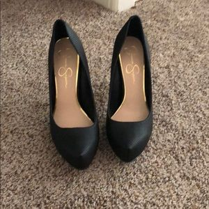 Black patented heel